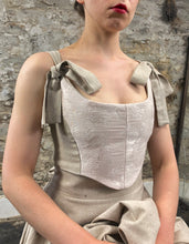 Summer 2020: Stomacher Bustier in Blush Brocade and Natural Linen
