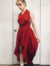 Sample Sale II: High Low Crimson Silk Dress (S/M)