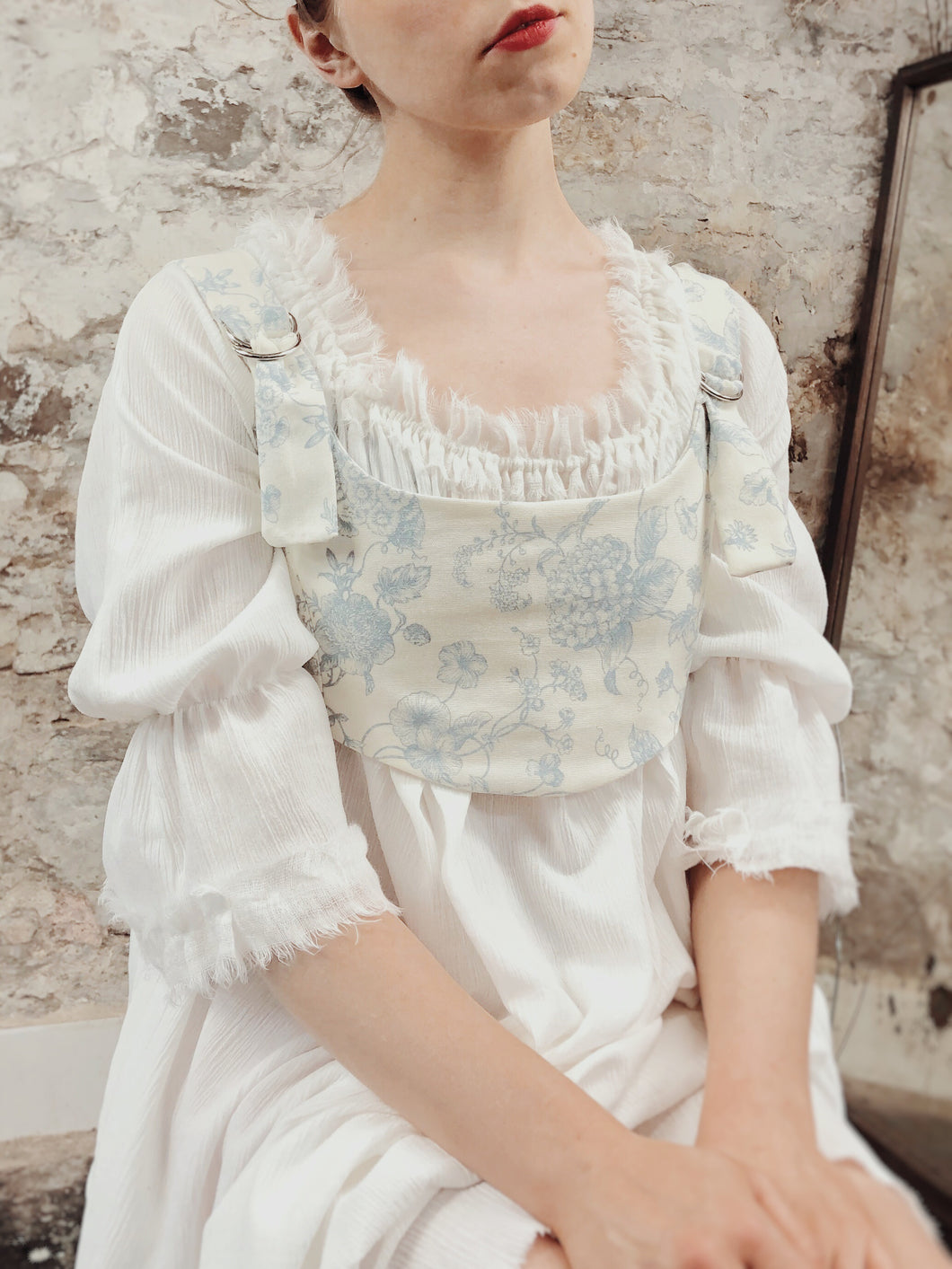 Summer 2020: Cropped Bustier in Toile de Jouy