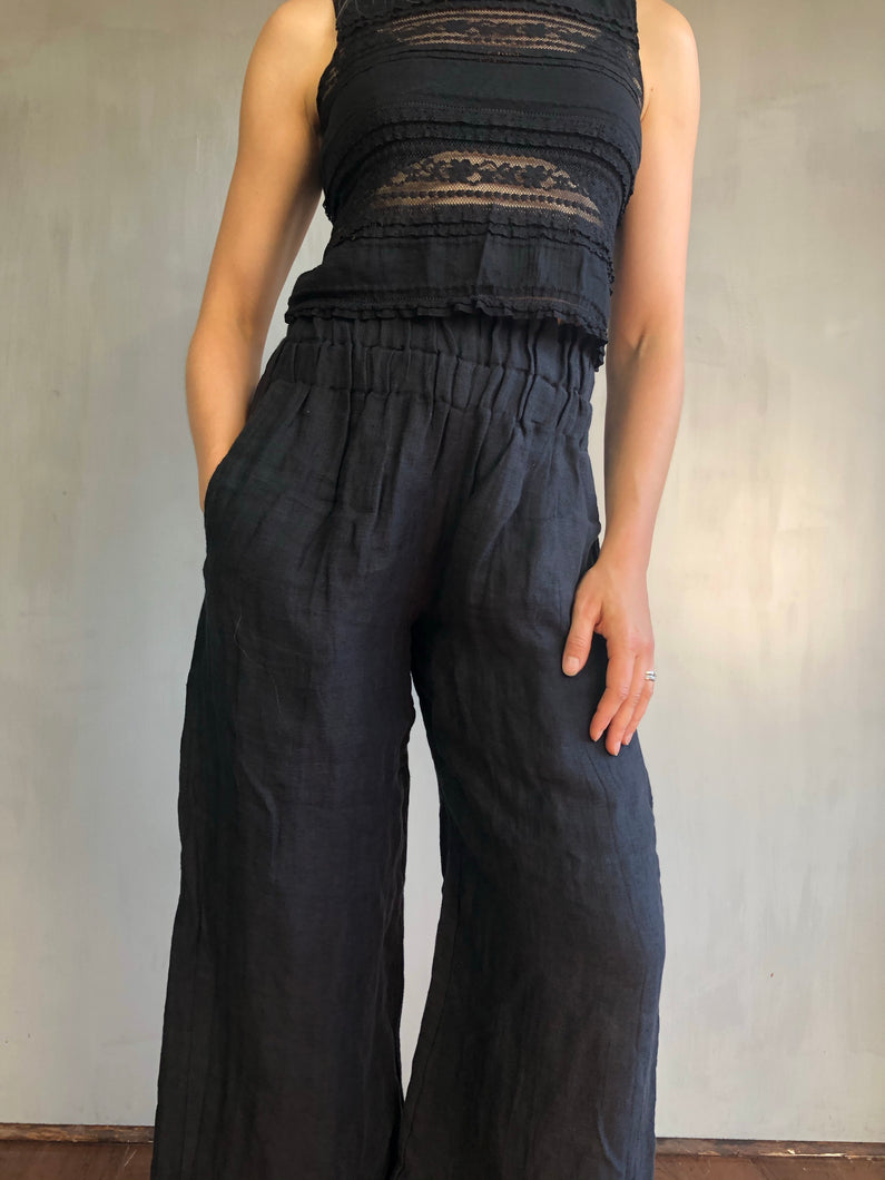 Sample Sale: Wide Leg Trousers in Washed Linen (M)