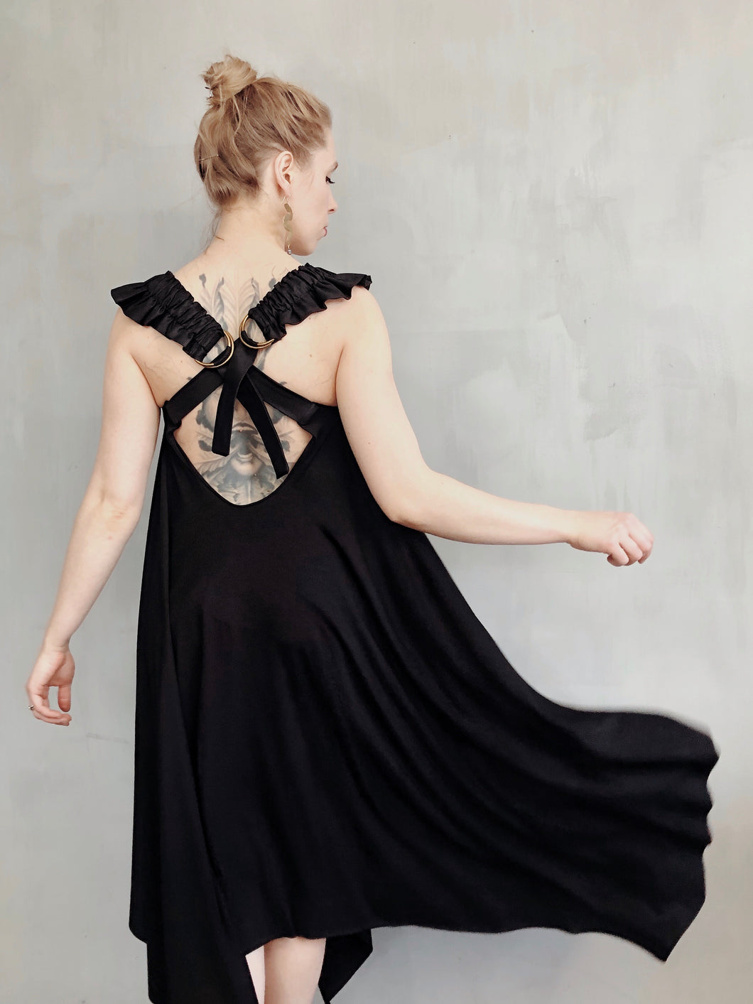 Spring 2021: Black Wings Square Draped Dress (Preorder)