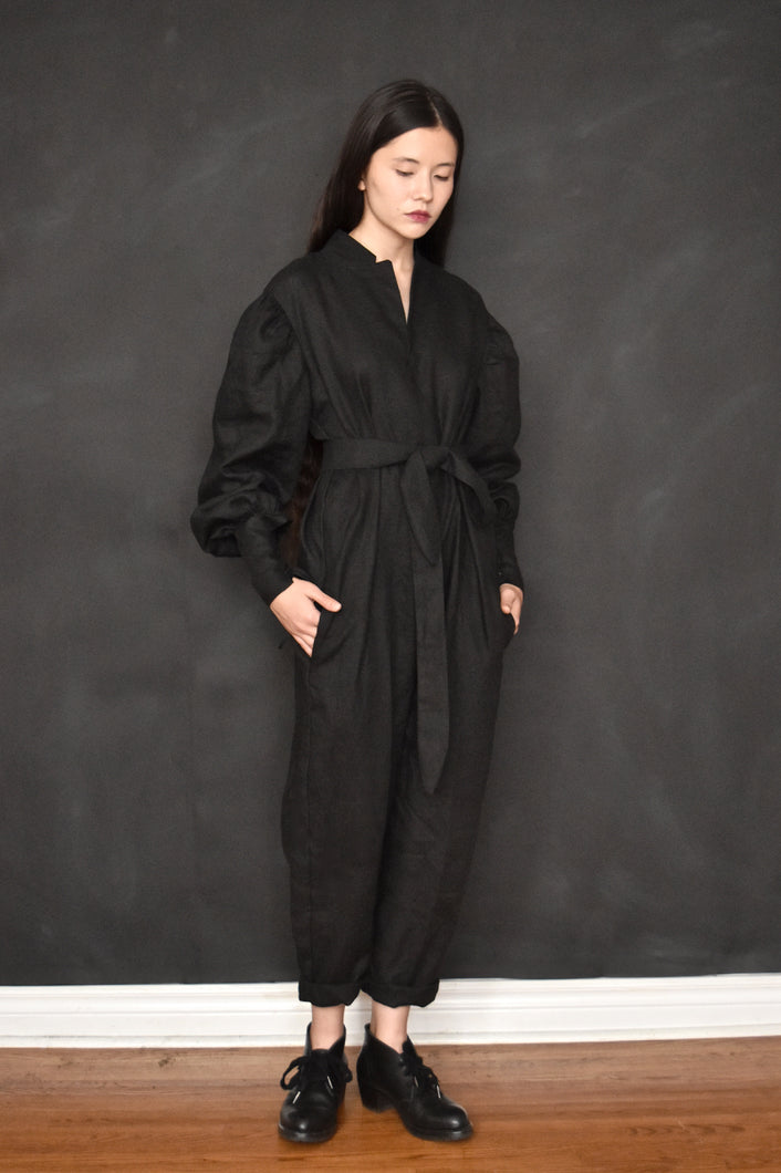 FW18 Capsule Bishop Sleeve Jumpsuit w/Notch Collar in Linen