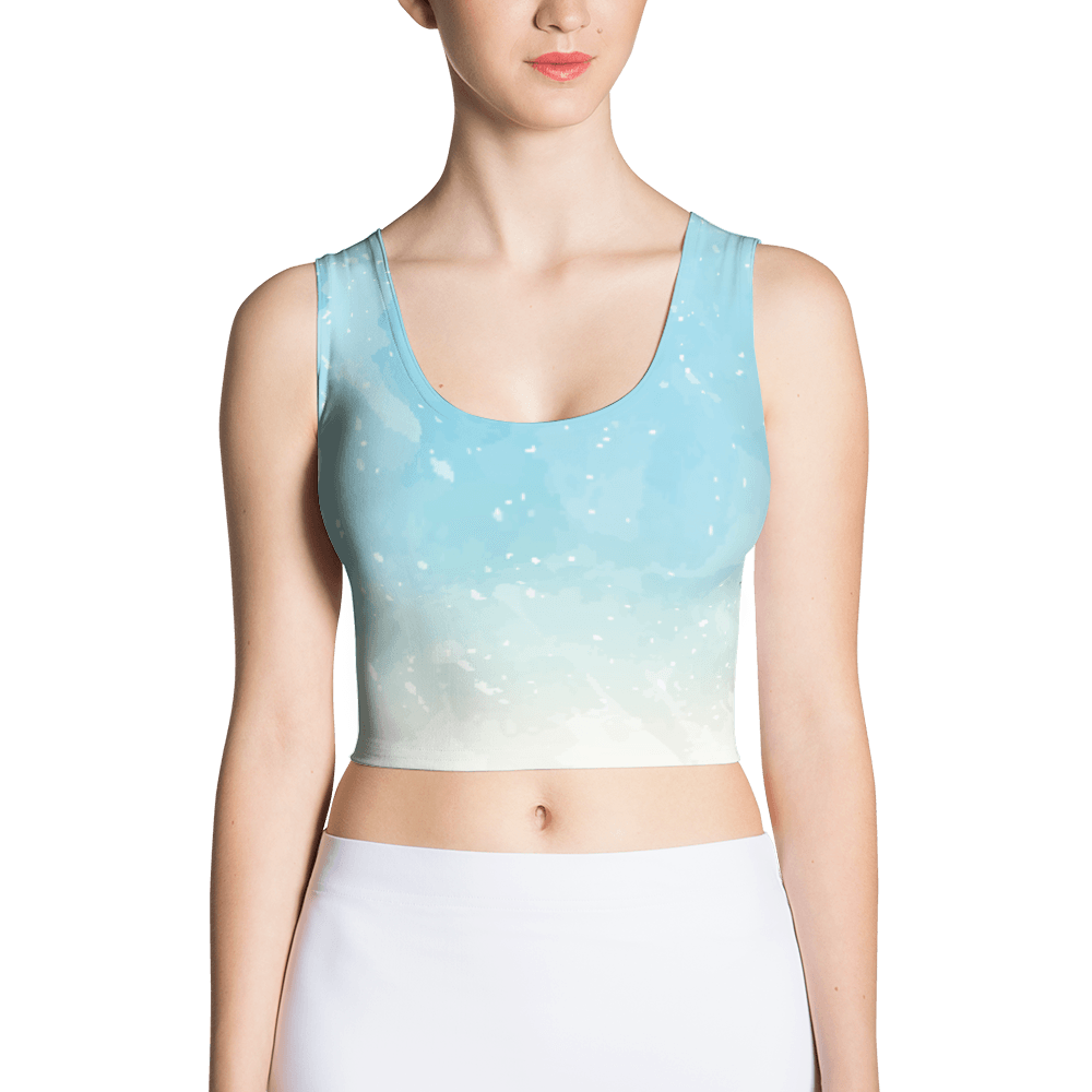Abstract Sky Blue Watercolor Crop Top The Skullection XS