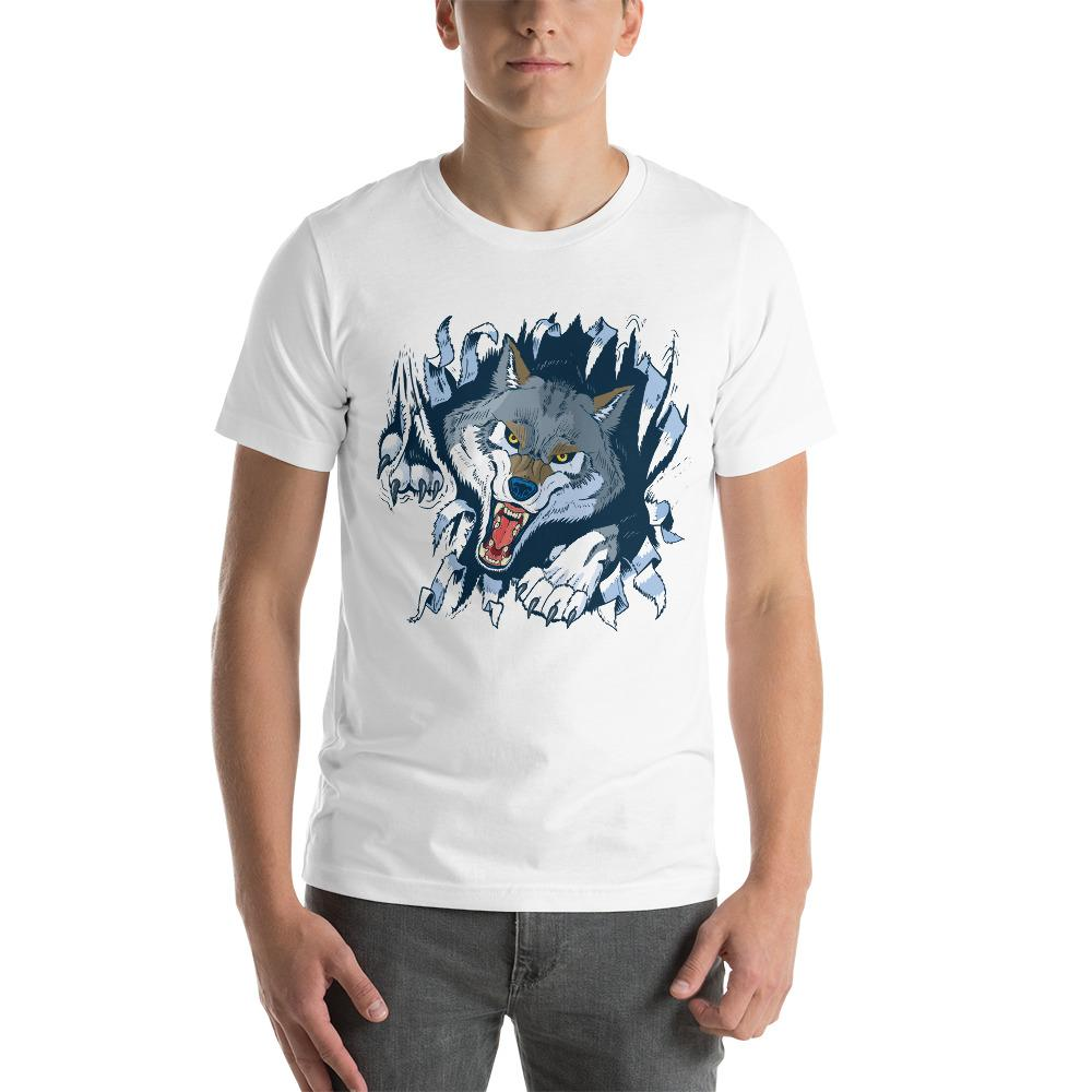 Angry Gray Wolf Tearing Through A Cloth T-Shirt The Skullection White XS