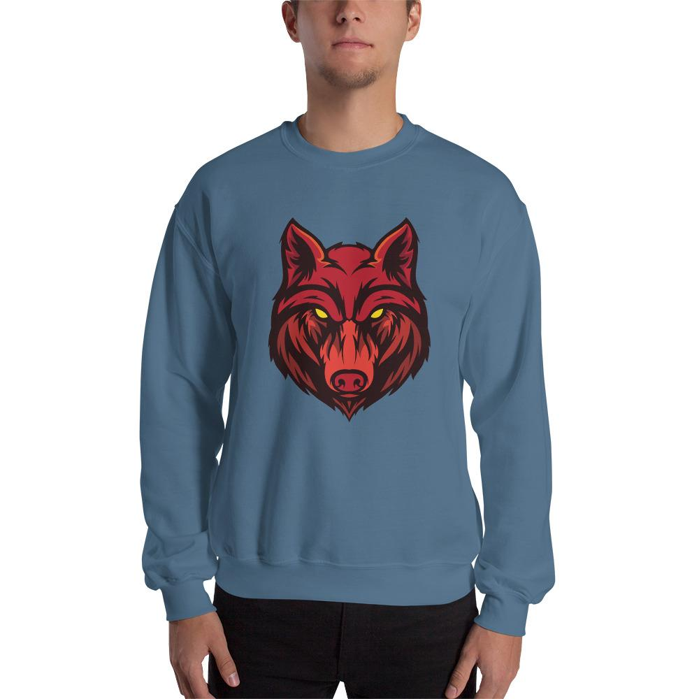 Angry Red Wolf Sweatshirt The Skullection Indigo Blue S