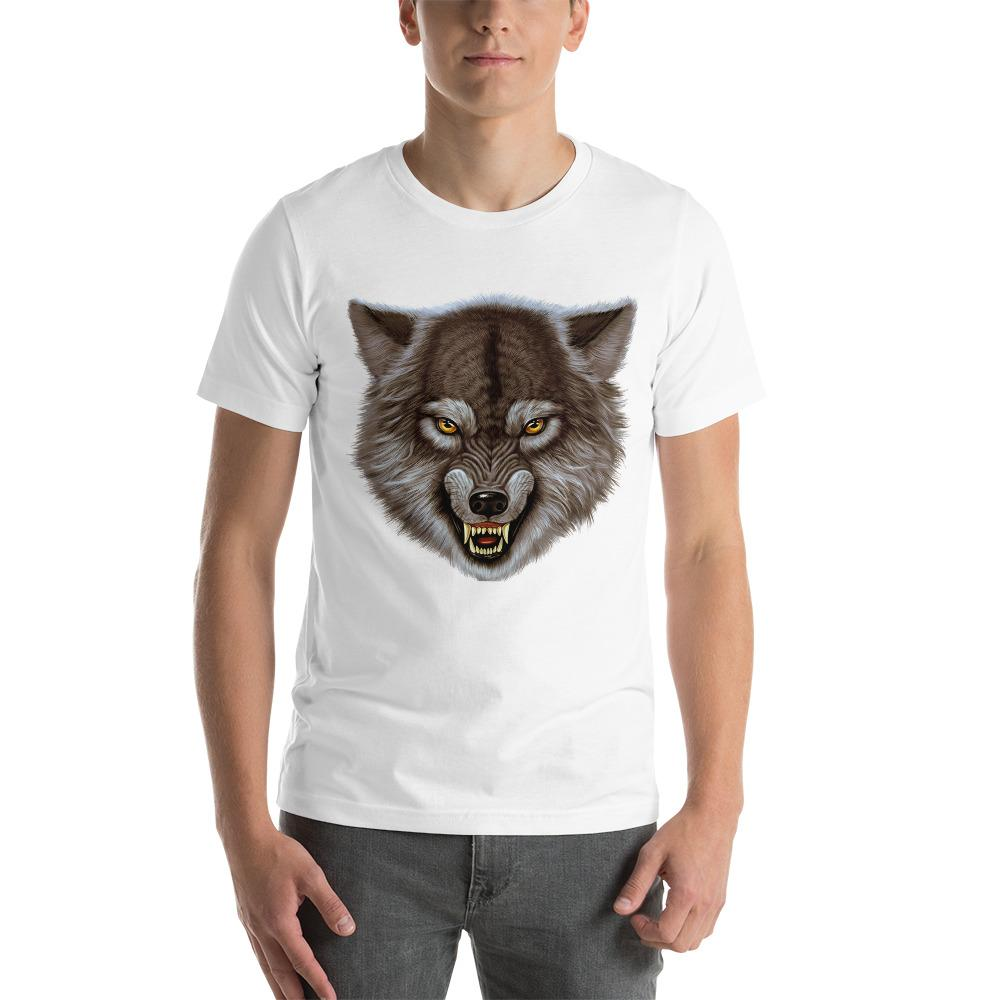 Angry Wolf Head T-Shirt The Skullection White XS
