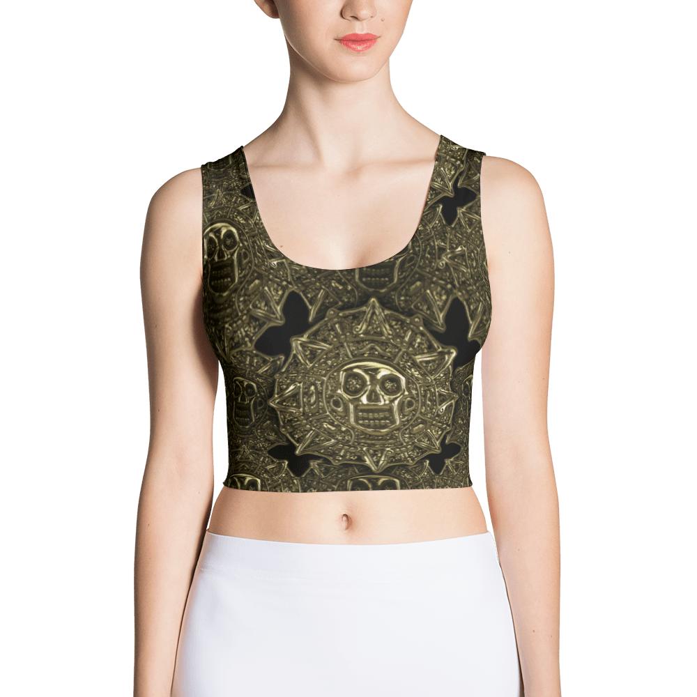 Aztec Skull Golden Coins Crop Top The Skullection XS