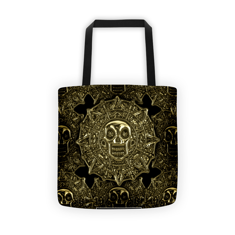 Aztec Skull Golden Coins Tote Bag The Skullection