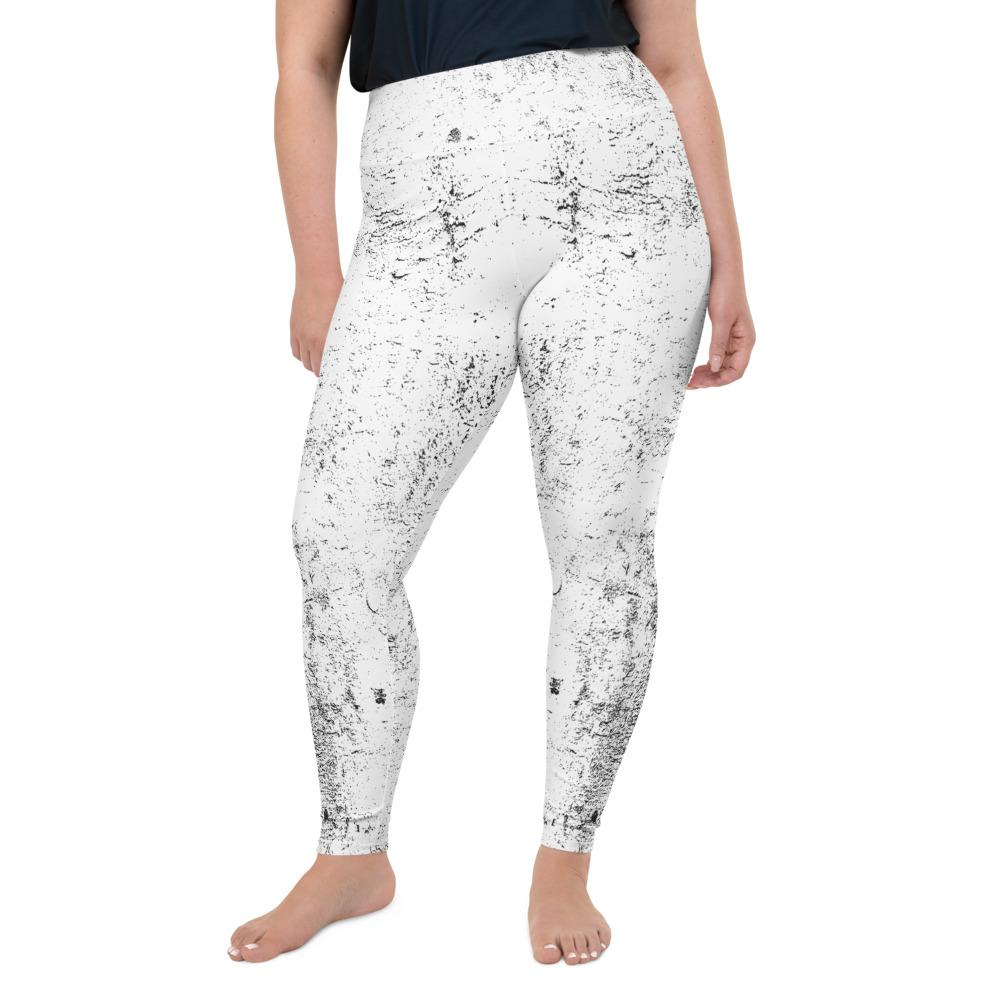 Black White Grunge Plus Size Leggings The Skullection 2XL