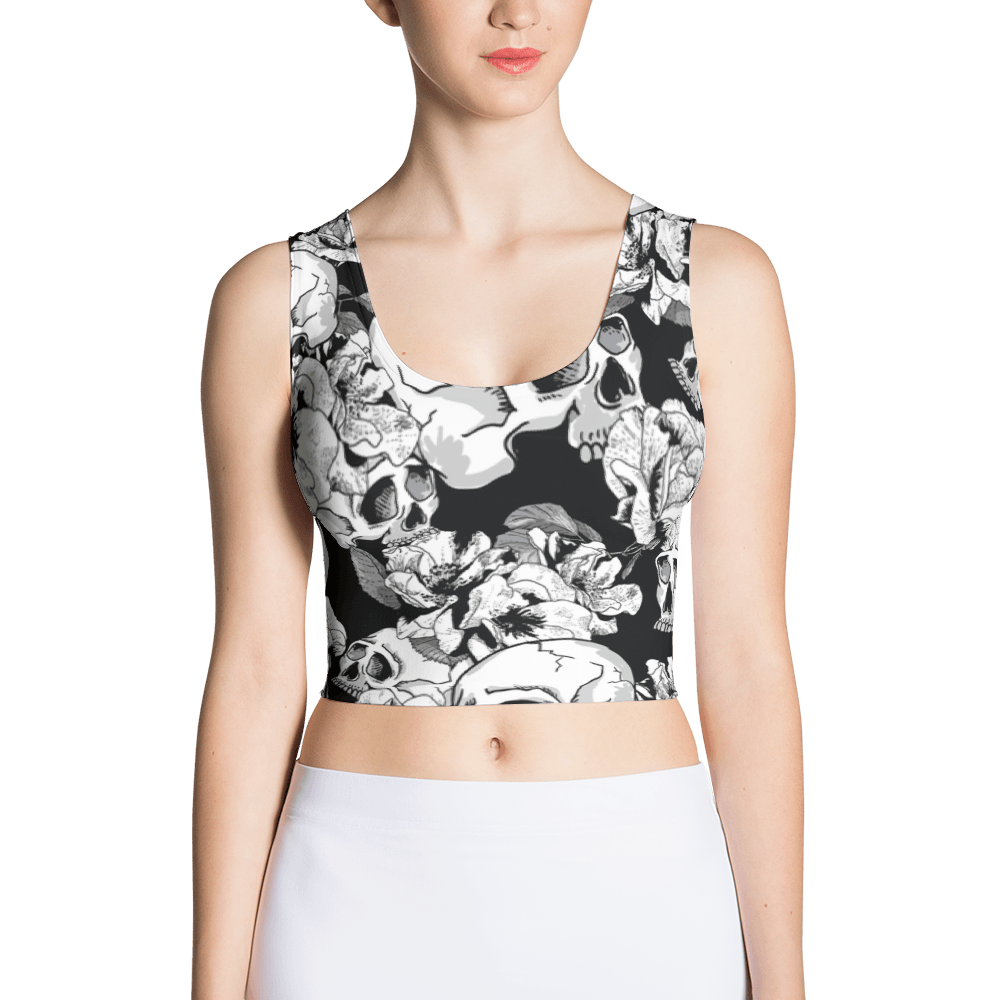Black White Skulls Day Of The Dead Crop Top The Skullection XS