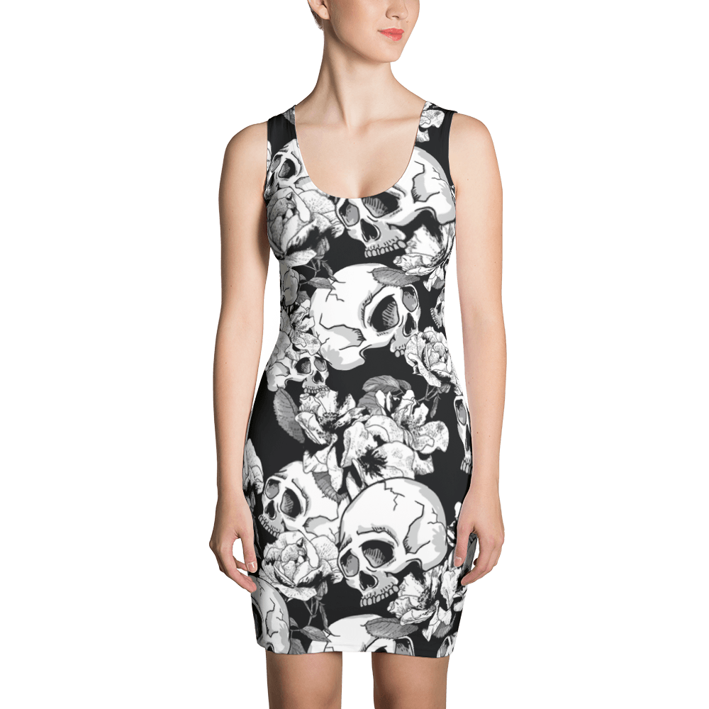 Black White Skulls Day Of The Dead Dress The Skullection XS