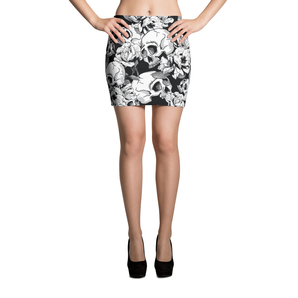 Black White Skulls Day Of The Dead Mini Skirt The Skullection XS