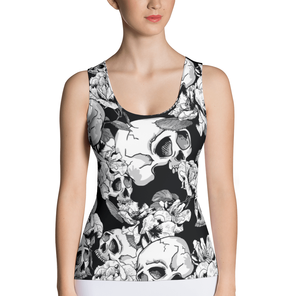 Black White Skulls Day Of The Dead Tank Top The Skullection XS