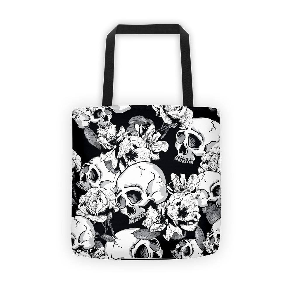 Black White Skulls Day Of The Dead Tote Bag The Skullection