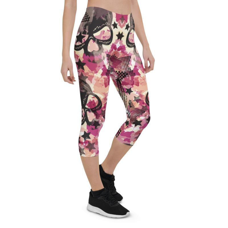 Camouflage Skulls And Stars Capri Leggings The Skullection