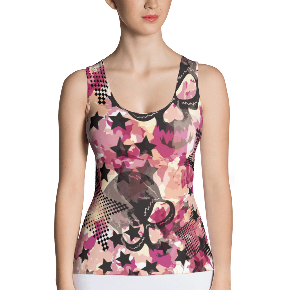 Camouflage Skulls And Stars Tank Top The Skullection XS