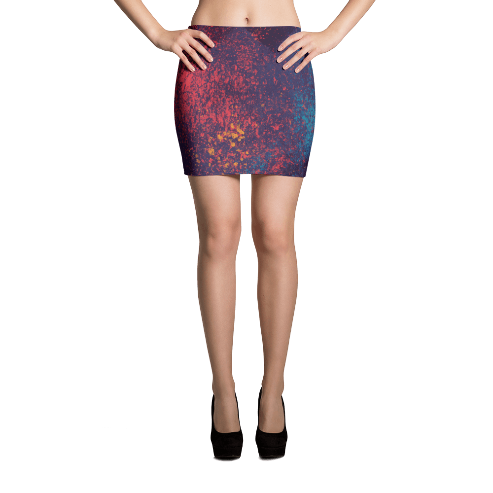 Colorful Grunge Spots Mini Skirt The Skullection XS