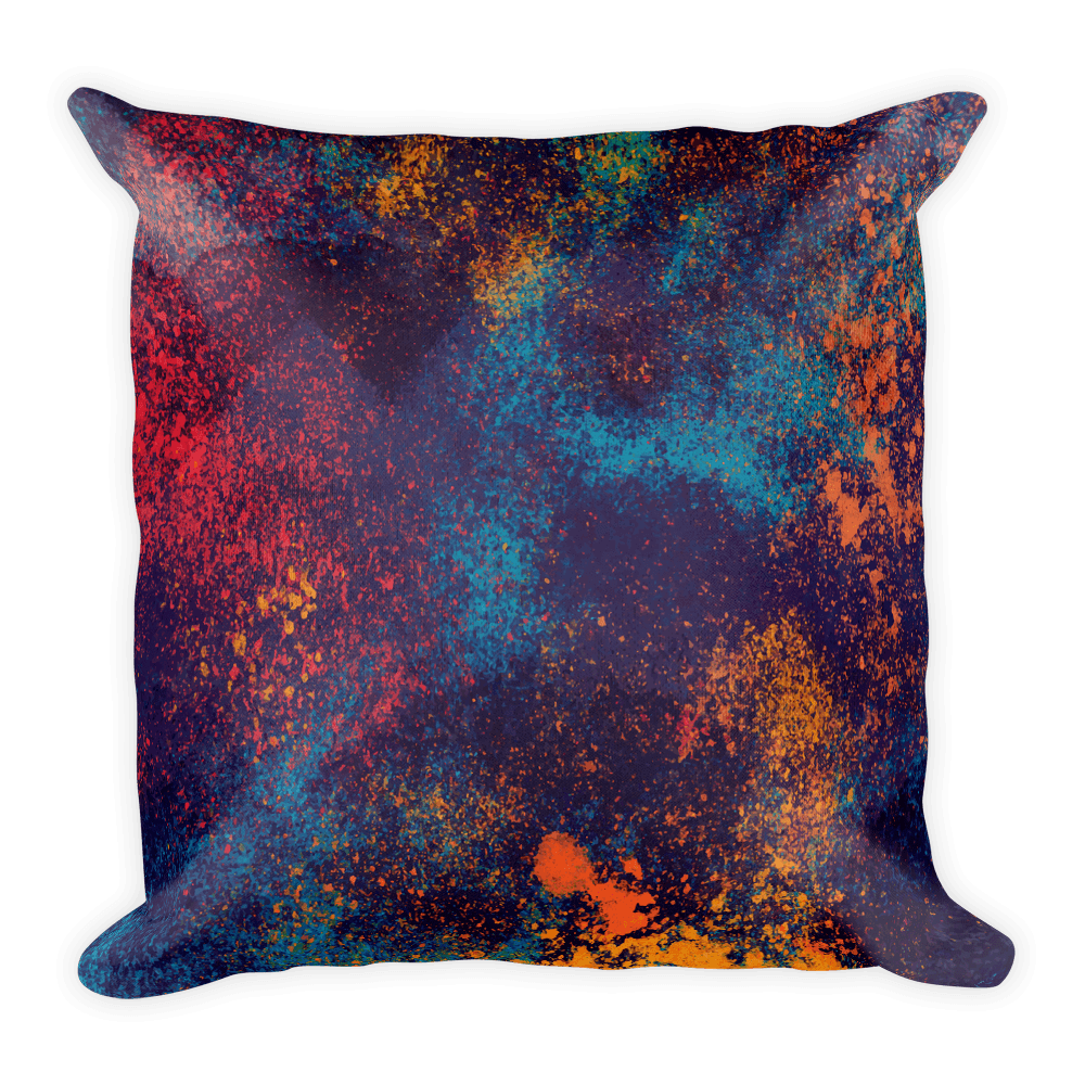 Colorful Grunge Spots Square Pillow The Skullection