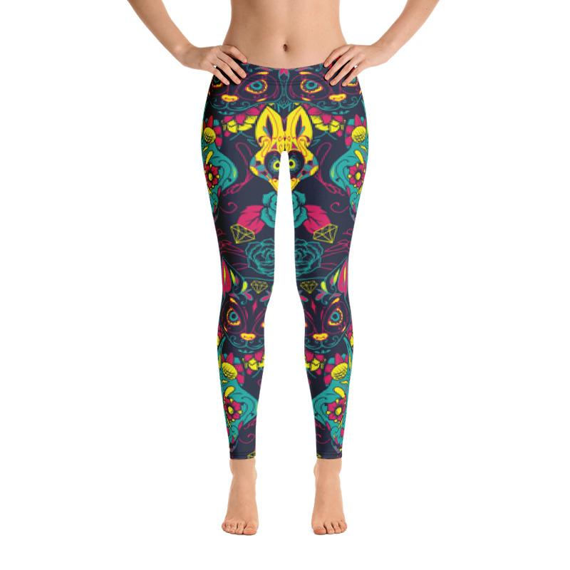 Colorful Sugar Skull Cats Leggings Leggings The Skullection