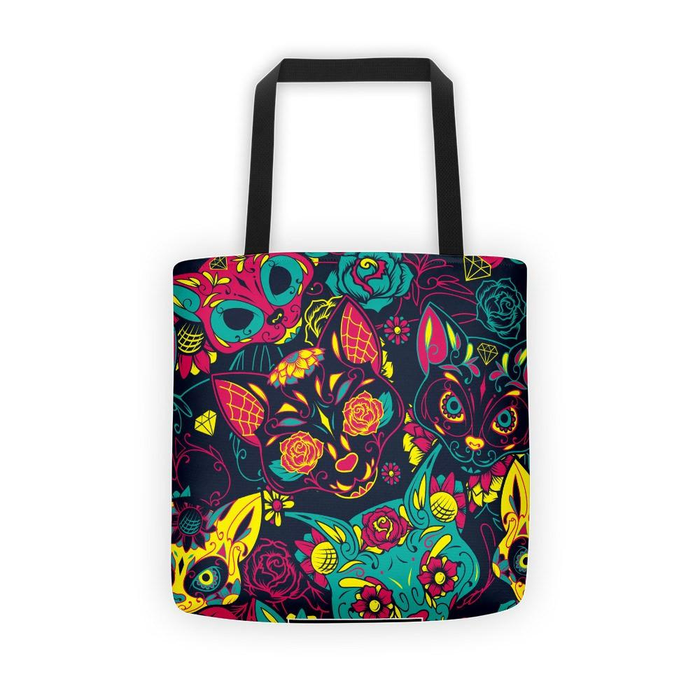 Colorful Sugar Skull Cats Tote Bag The Skullection