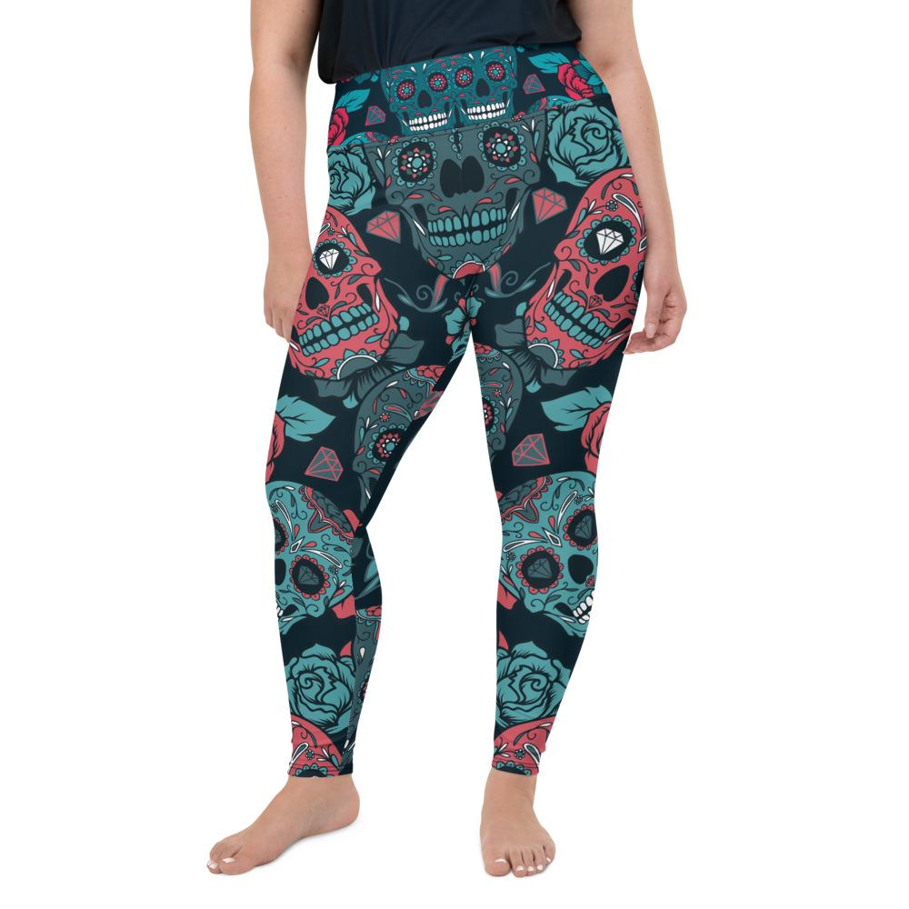Day Of The Dead Colorful Pinky Sugar Skull Plus Size Leggings The Skullection 2XL