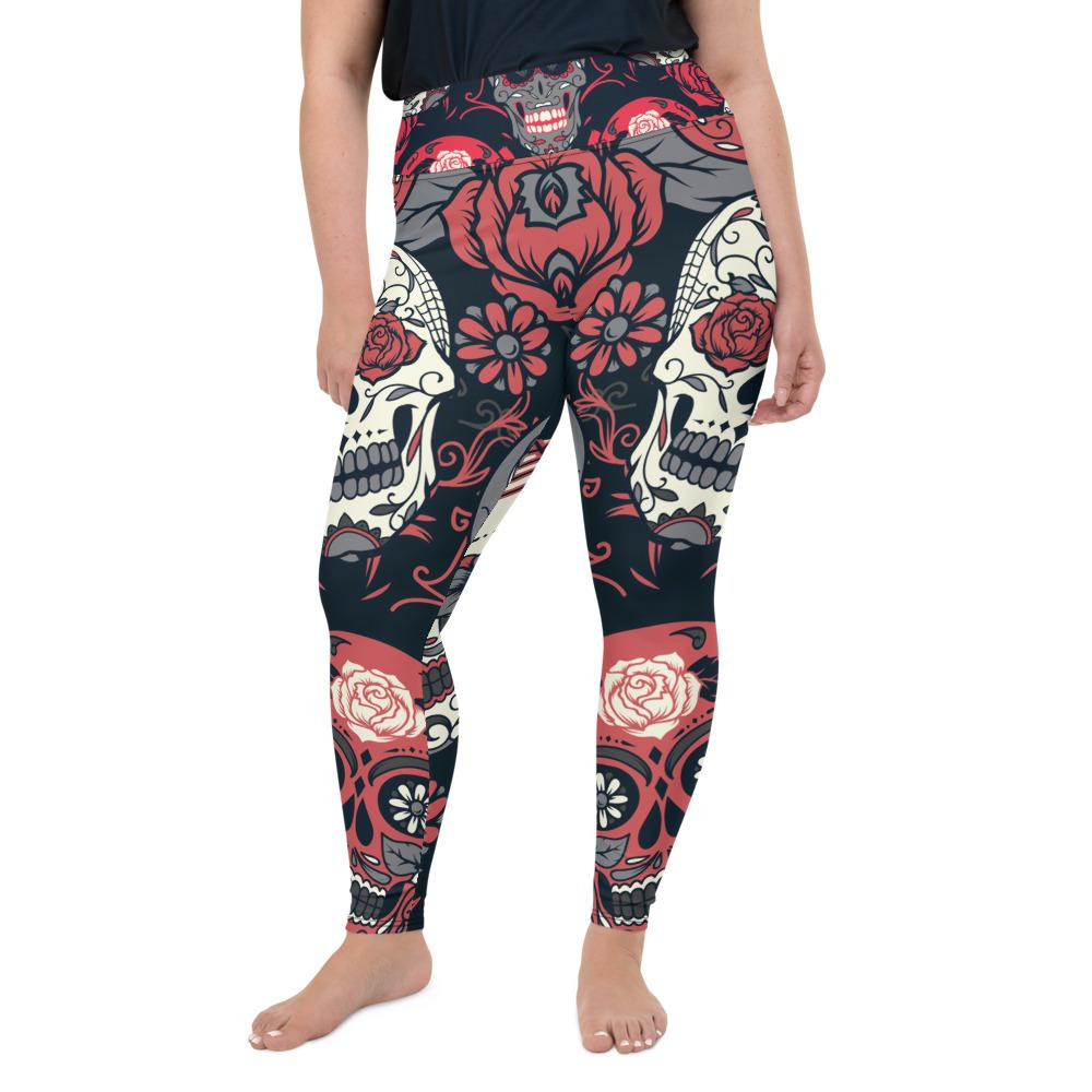 Day Of The Dead Pink Roses Sugar Skull Floral Plus Size Leggings The Skullection 2XL