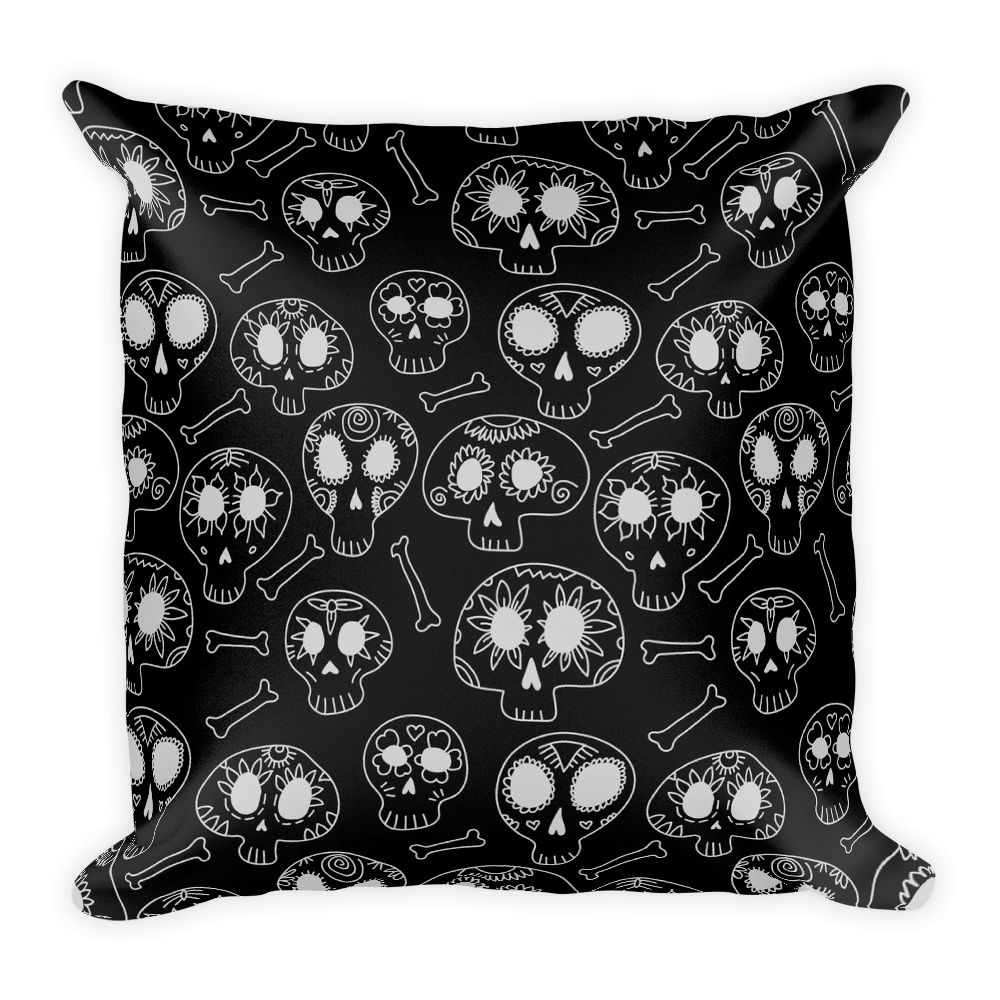 Doodle Calavera Sugar Skulls White Square Pillow The Skullection