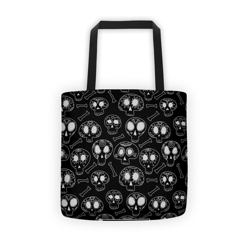 Doodle Calavera Sugar Skulls White Tote Bag The Skullection