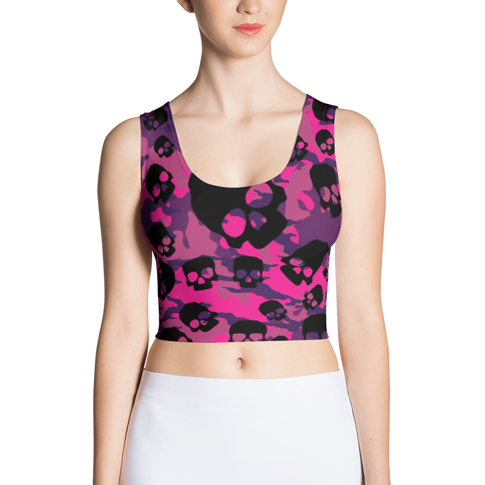 Fashionable Pink Camouflage Skulls Crop Top The Skullection XS