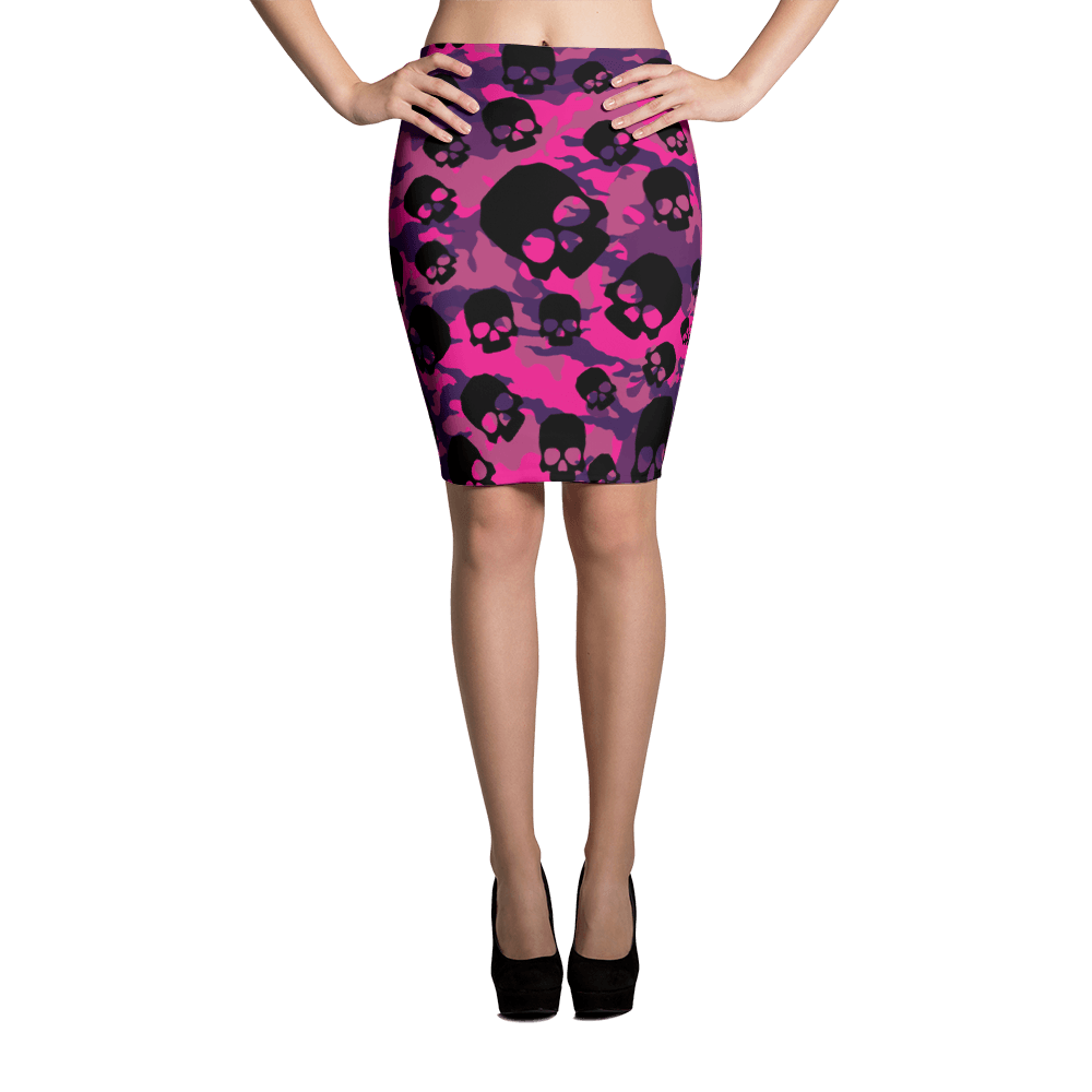 Fashionable Pink Camouflage Skulls Pencil Skirt The Skullection XS