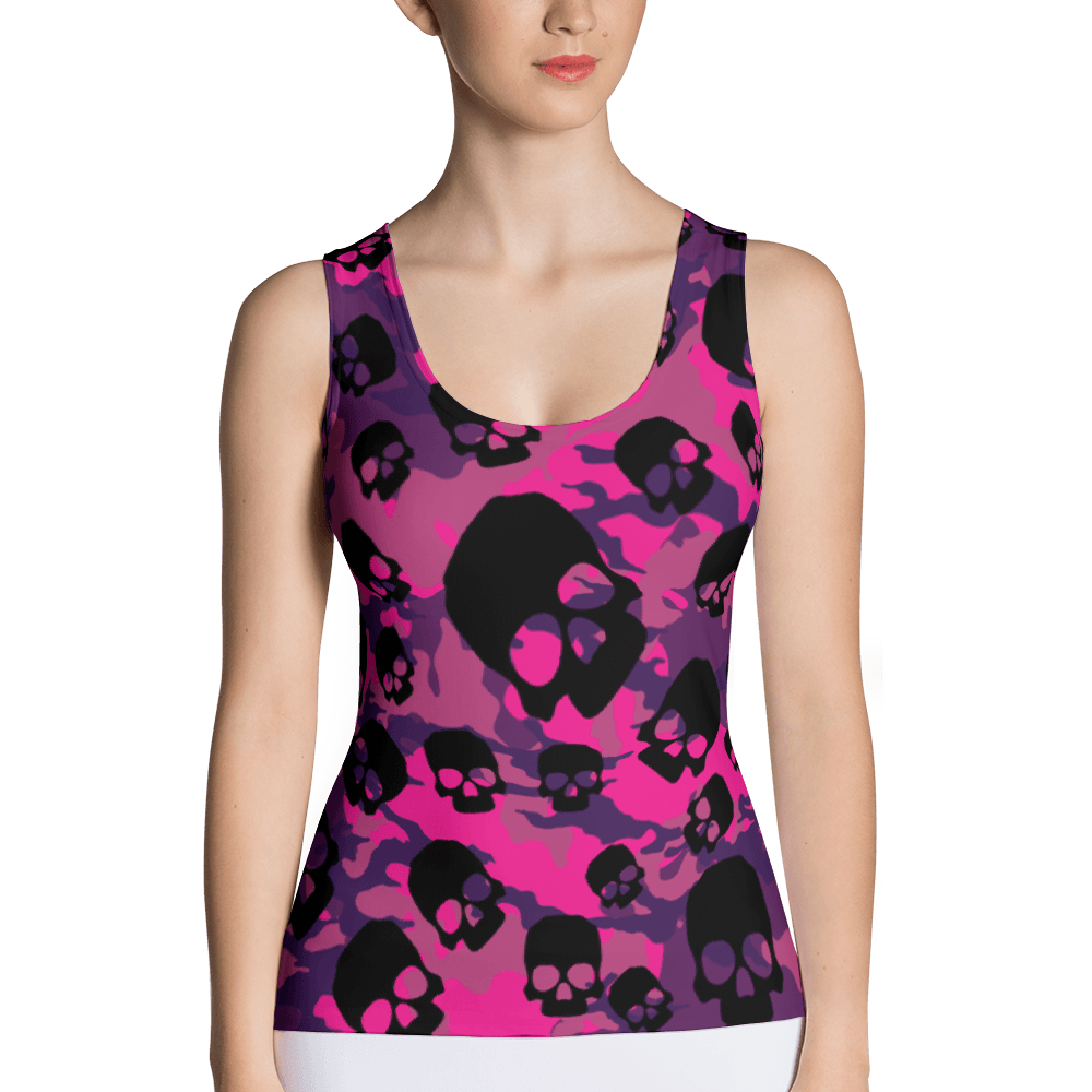 Fashionable Pink Camouflage Skulls Tank Top The Skullection XS