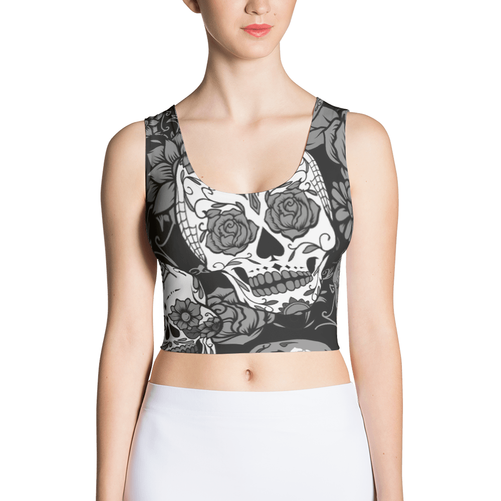 Gray Sugar Skull Crop Top The Skullection XS