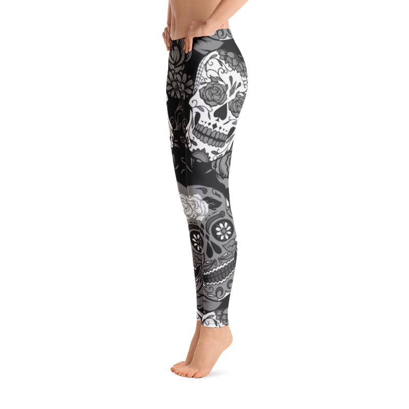 Gray Sugar Skull Leggings The Skullection