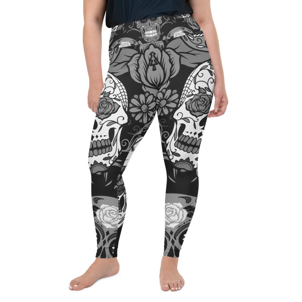 Gray Sugar Skull Plus Size Leggings The Skullection 2XL
