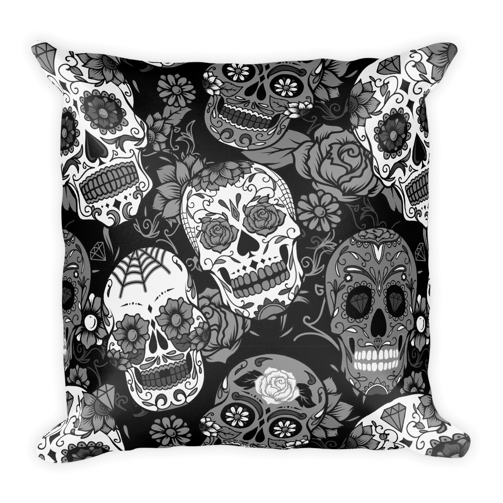 Gray Sugar Skull Square Pillow The Skullection