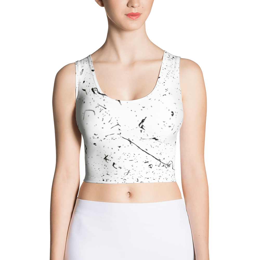 Grunge Lines And Dots Crop Top The Skullection XS