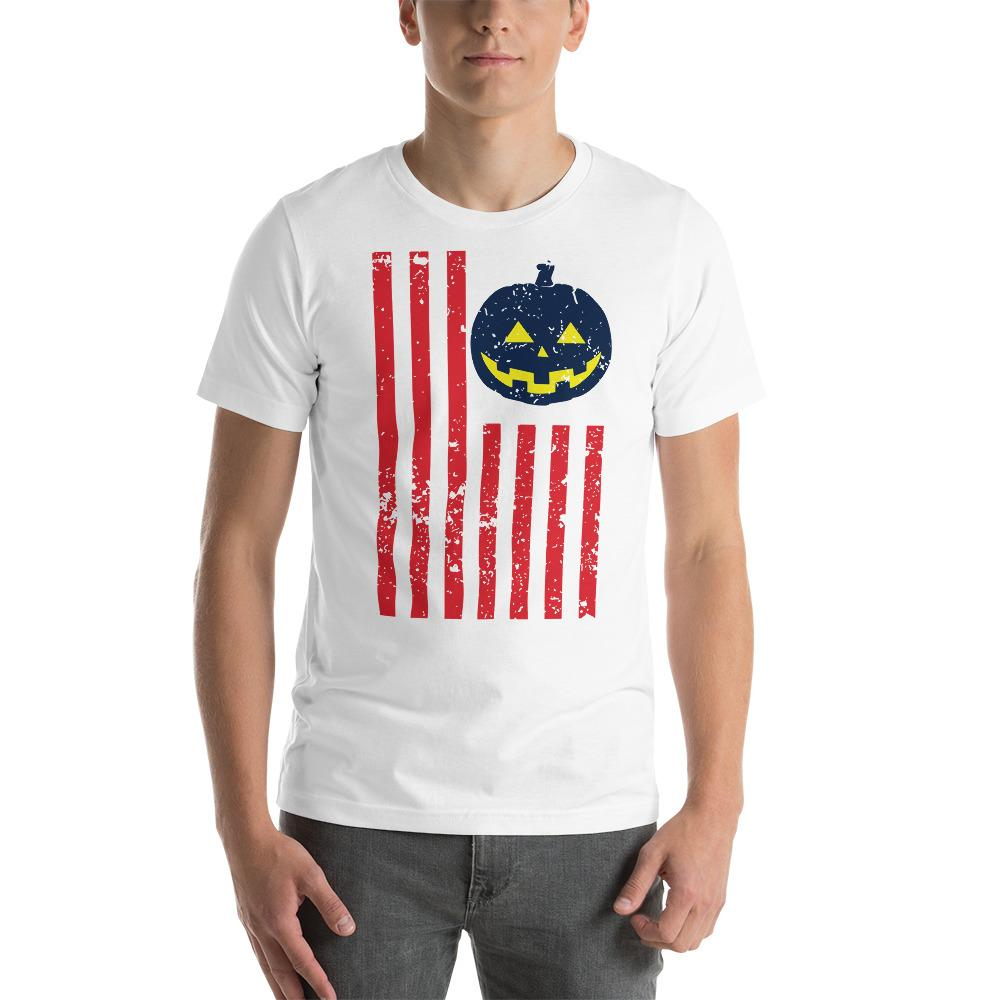Halloween Grunge Texture USA Flag T-Shirt The Skullection White XS