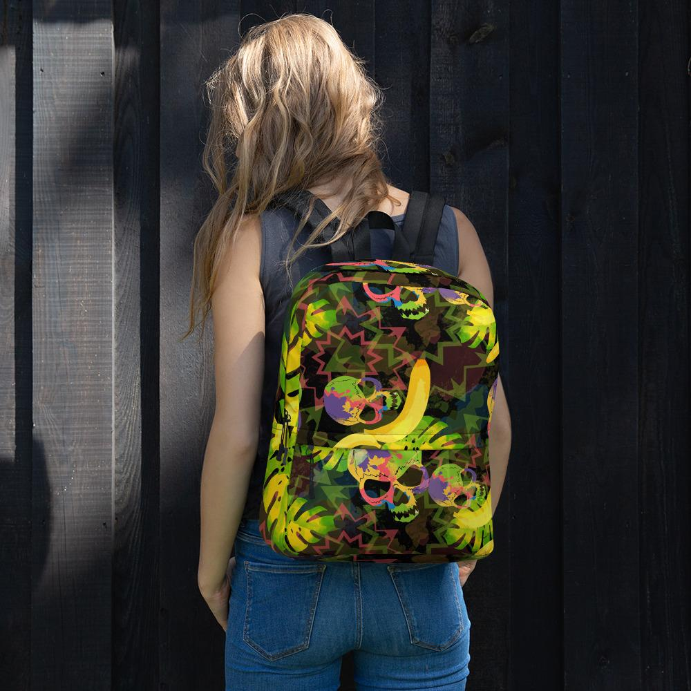 Tropical Skulls And Palm Leaves Backpack The Skullection