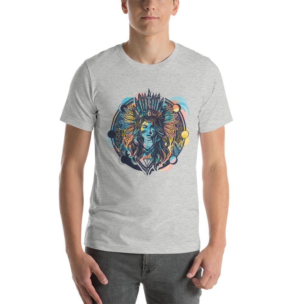 Tribal Indian Ethnic Girl Warrior T-Shirt The Skullection Athletic Heather S