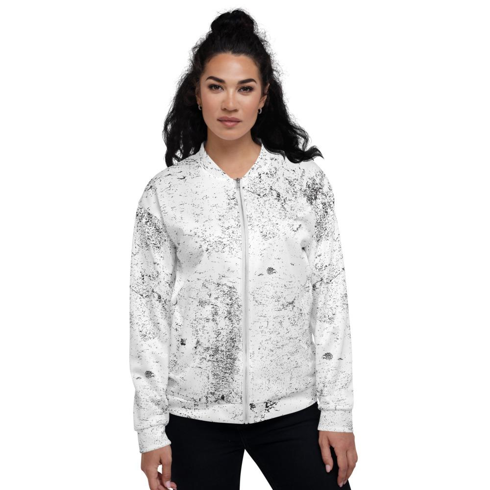 Black White Grunge Unisex Bomber Jacket The Skullection XS
