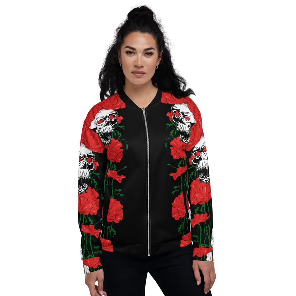 Skull Flowers Growing Up Unisex Bomber Jacket The Skullection XS
