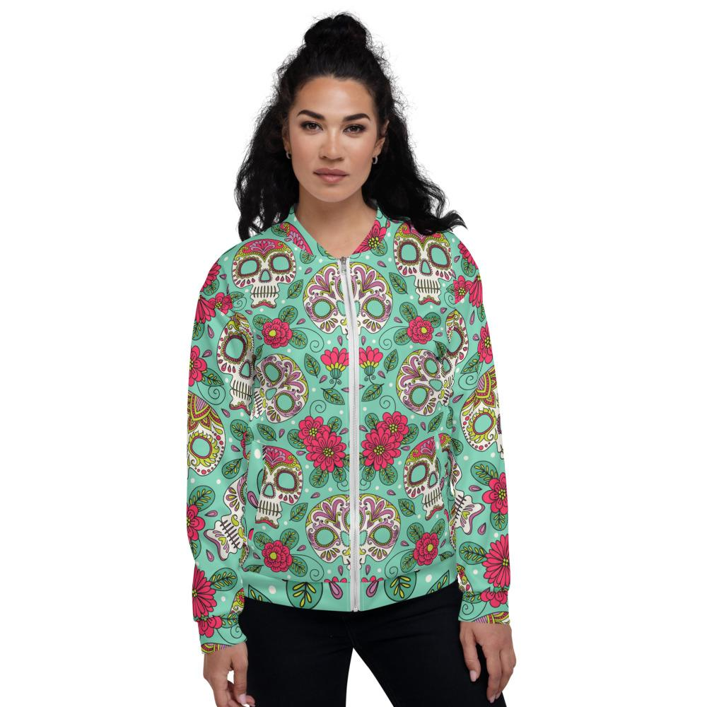 Sugar Skull Flowers Mexican Day Unisex Bomber Jacket The Skullection XS