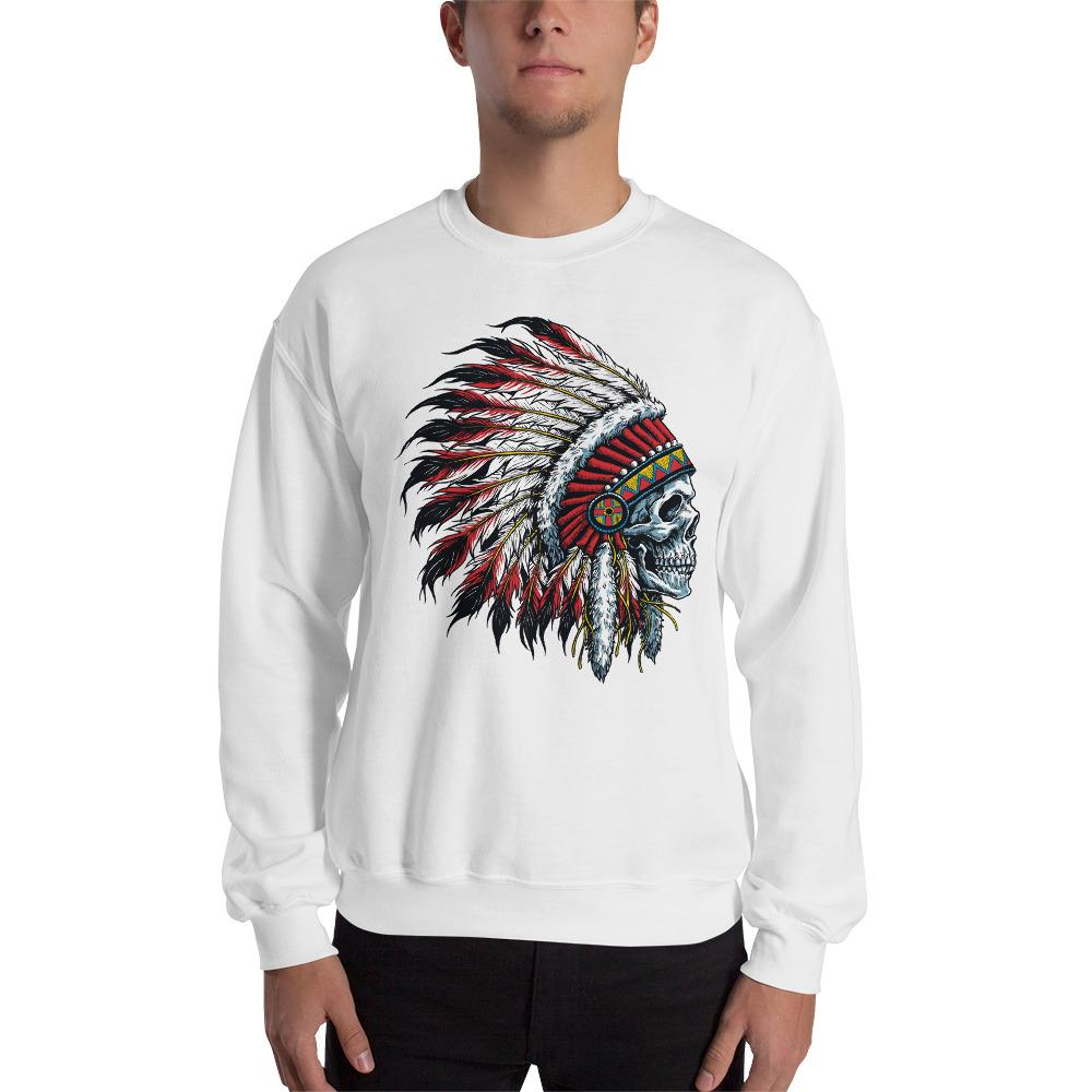 Native American Indian Skull Sweatshirt The Skullection White S