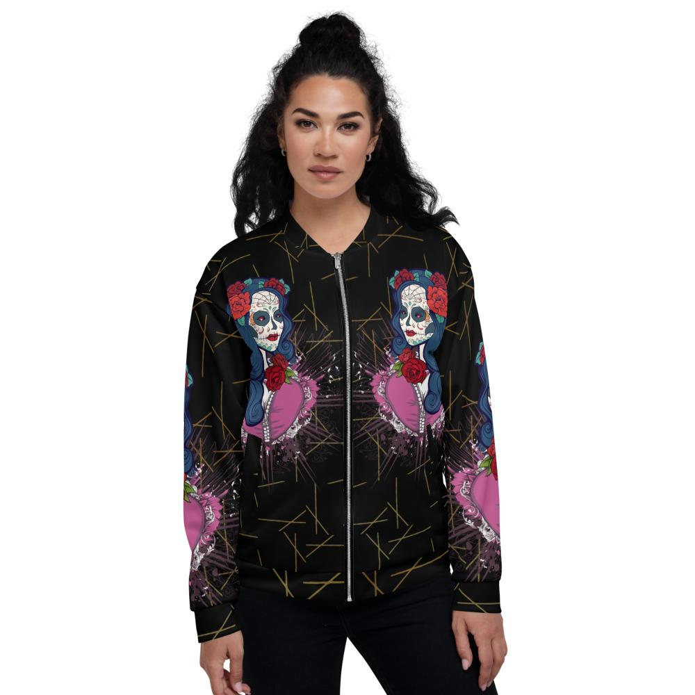 Calavera Queen Of The Sugar Skulls Unisex Bomber Jacket The Skullection XS