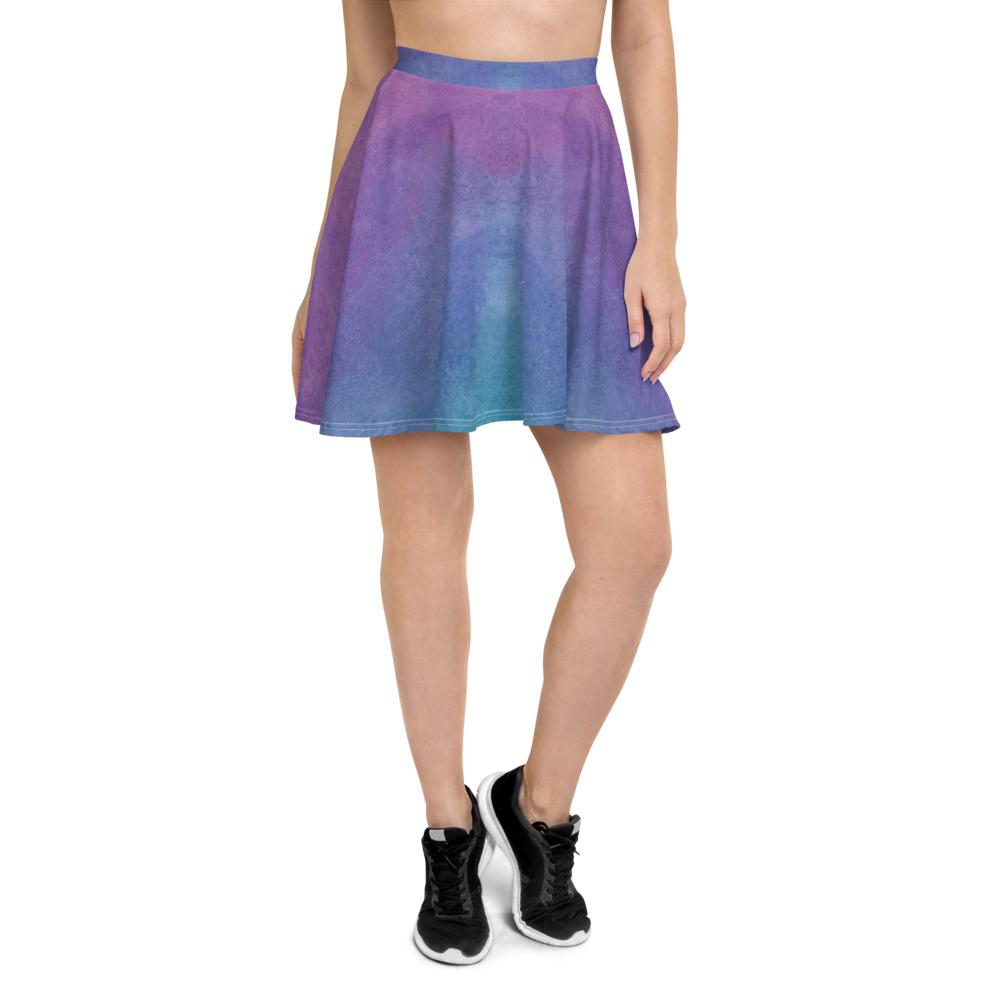Pink Watercolored Style Skater Skirt The Skullection XS