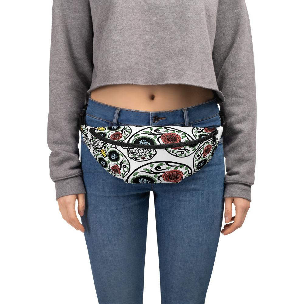 White Sugar Skulls Day Of The Dead Fanny Pack The Skullection S/M