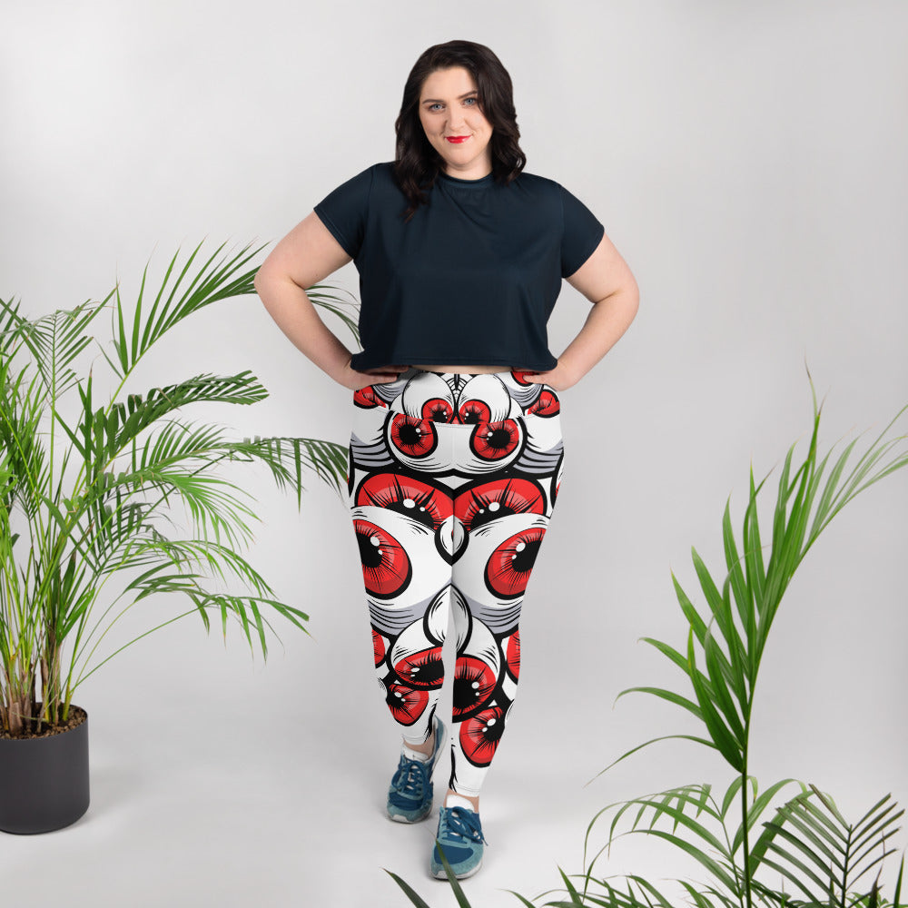 Scary Red Eyes All-Over Print Plus Size Leggings