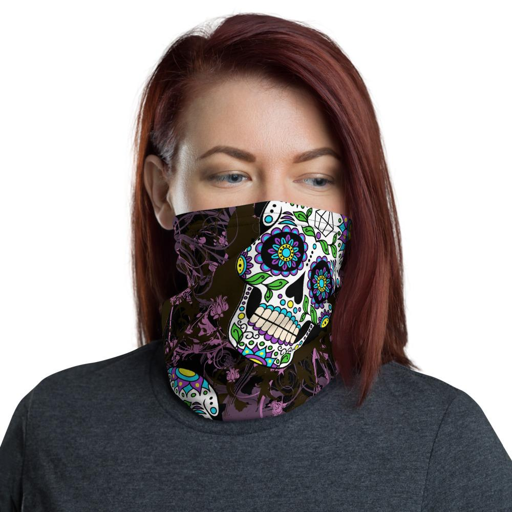 Violet Sugar Skulls Neck Gaiter The Skullection