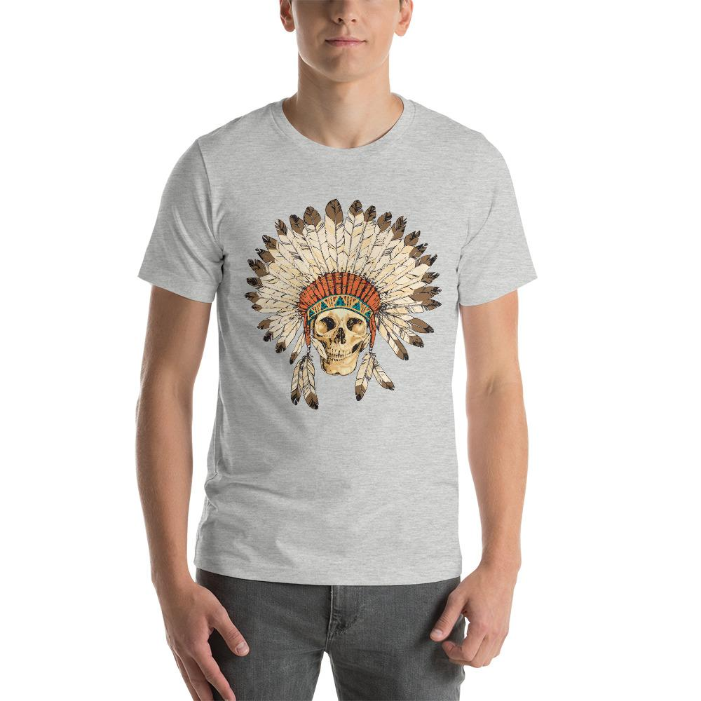 Native American Indian Headdress With Human Skull T-Shirt The Skullection Athletic Heather S