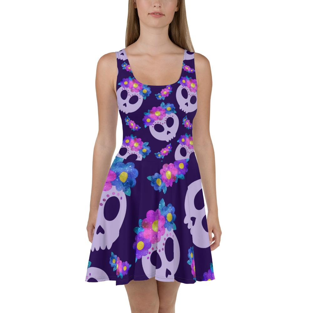 Frida Skulls With Flowers Skater Dress The Skullection XS